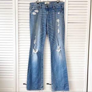 A&F   Medium Wash Distressed Emma Bootcut Jeans 6L